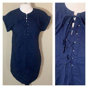 J. Crew lace up shirt dress navy blue small cotton